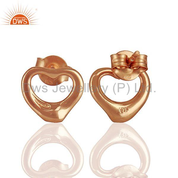 Suppliers Open Heart 925 Sterling Silver Rose Gold Plated Stud Earring Wholesale Jewelry