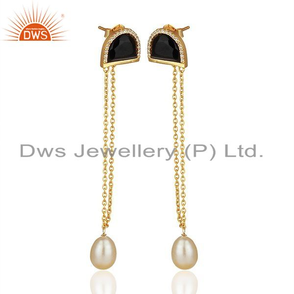 Suppliers Black Onyx and White Pearl Gold Plated Silver Chain Earrings Jewelry