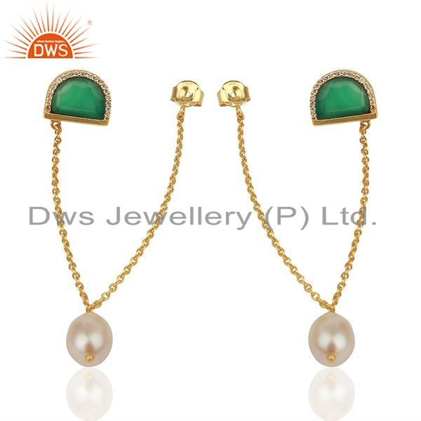 Suppliers Onyx Gemstone with Cz Gold Plated 925 Silver Chain Earrings Wholesale