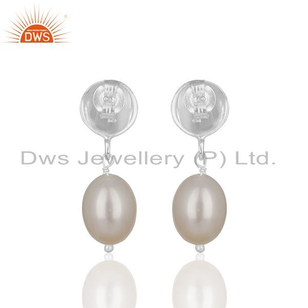 Suppliers Natural Pearl Gemstone Handmade 925 Silver Drop Earrings Manufacturer from India