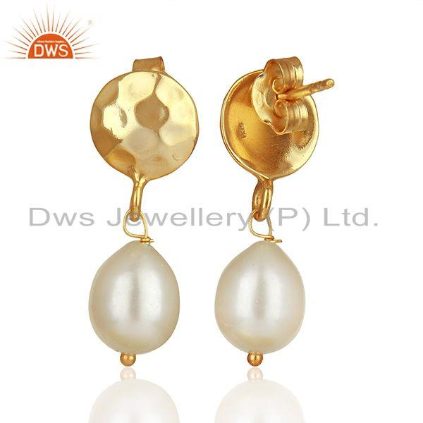 Suppliers Handmade 925 Silver Gold Plated Pearl Drop Earrings Wholesale