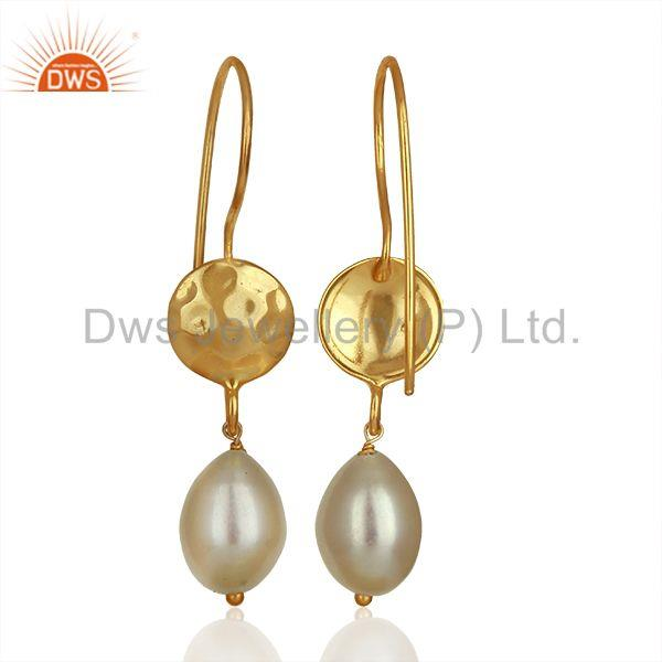 Suppliers Designer Gold Plated 925 Silver Pearl Gemstone Drop Earrings Supplier