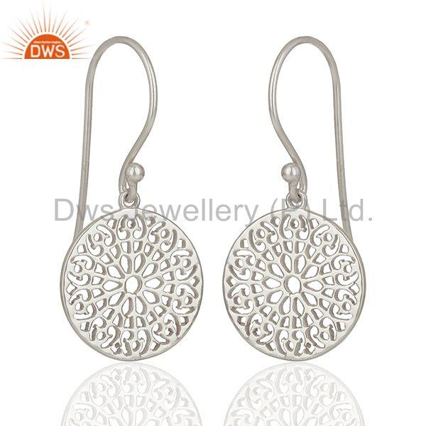Suppliers Gardens Inspired 925 Sterling Silver White Rhodium Plated Round Earring