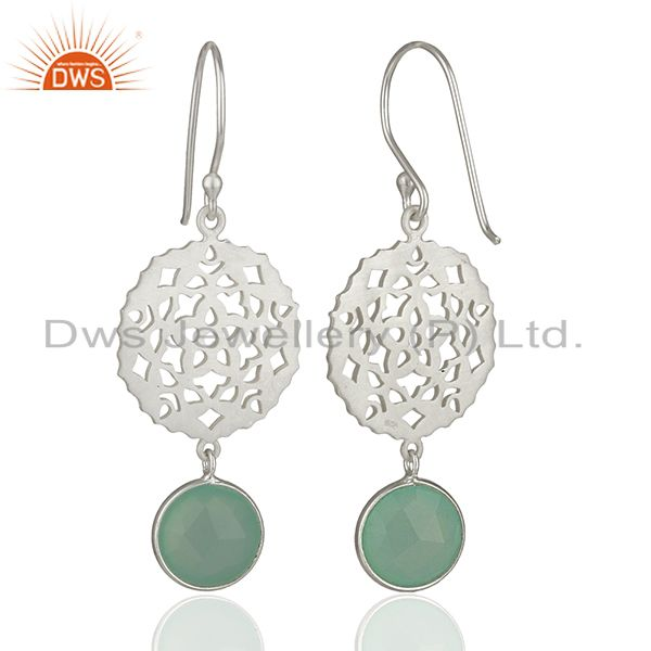 Suppliers Designer 925 Silver Aqua Chalcedony Gemstone Drop Earring Manufacturer