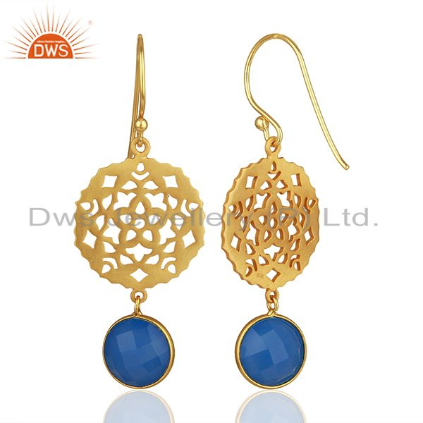 Suppliers 925 Silver Gold Plated Designer Blue Chalcedony Gemstone Drop Earrings