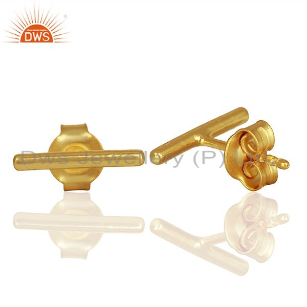 Suppliers Solid Sterling Silver Gold Plated Bar Stud Earrings Manufacturers
