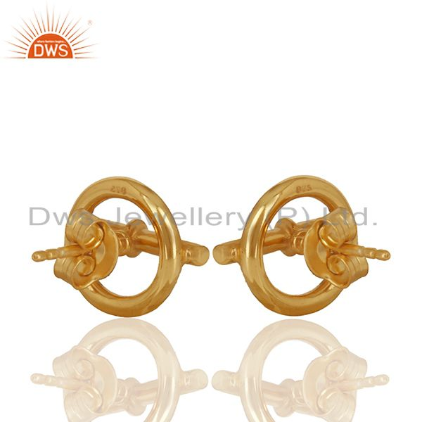 Suppliers Mini Chaine d Ancre 925 Sterling Silver 18k Gold Plated Stud Earrings Jewelry