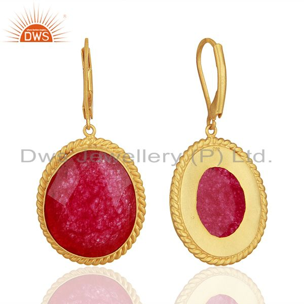 Suppliers Handcrafted 925 Silver Gold Plated Aventurine Red Gemstone Earrings