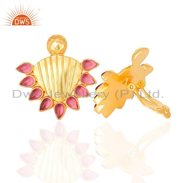 Suppliers Handmade Gold Plated 925 Silver Pink Gemstone Stud Earring Supplier