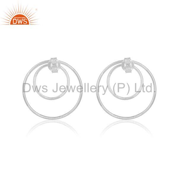 Suppliers Plain 925 Sterling Fine Silver Double Circle Earring Custom Jewelry Manufacturer
