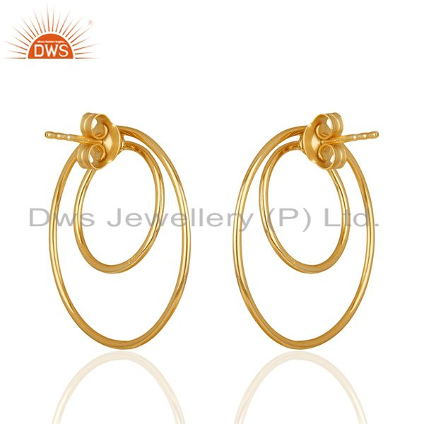 Suppliers Gold Plated Sterling Silver Circle Design Earrings Manufacturers