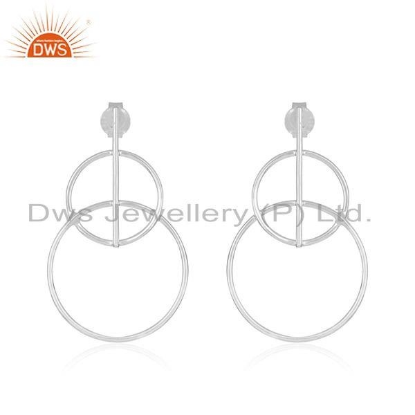 Suppliers Handmade Plain Fine Sterling Silver Circle Design Womens Earrings