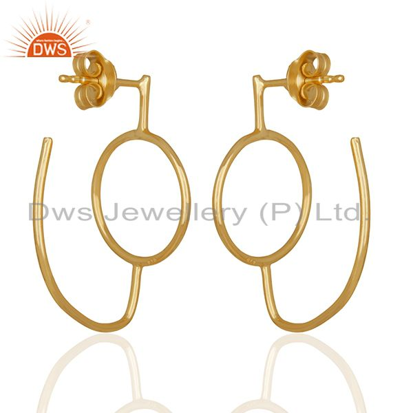 Suppliers Handmade Gold Plated Plain Sterling Silver Dangle Earrings Wholesale