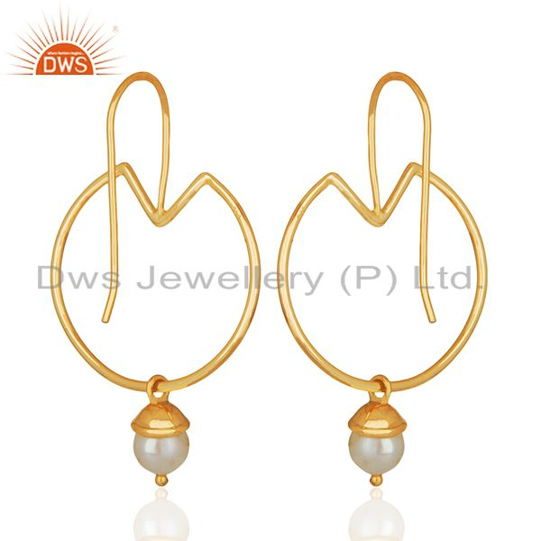 Suppliers Natural Pearl Gold Plated Plain 925 Silver Simple Earrings Jewelry