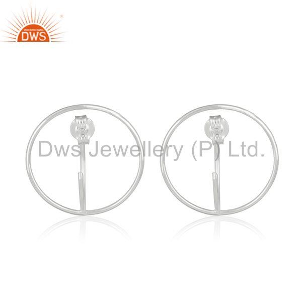 Suppliers Handmade 925 Sterling Plain Fine Silver Circle Design Simple Girls Earring