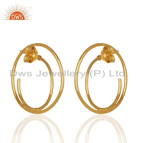 Suppliers Simple Design Silver Gold Plated Plain Earrings Manufacturer