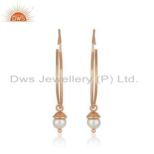 Suppliers Rose Gold Plated 925 Silver Handmade Natural Pearl Girls Earrings Manufacturers