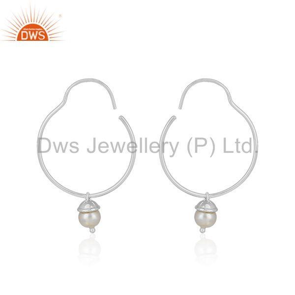 Suppliers Simple 925 Sterling Plain Fine Silver Natural White Pearl Earring Wholesale