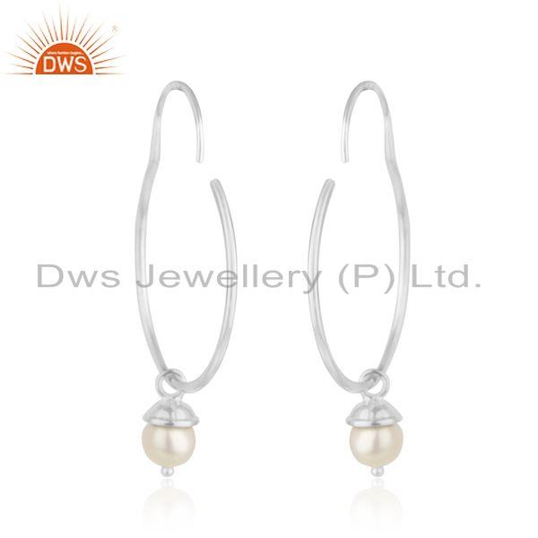Suppliers Handmade Fine Sterling Silver Natural Pearl Earrings for Girls Jewelry Wholesale