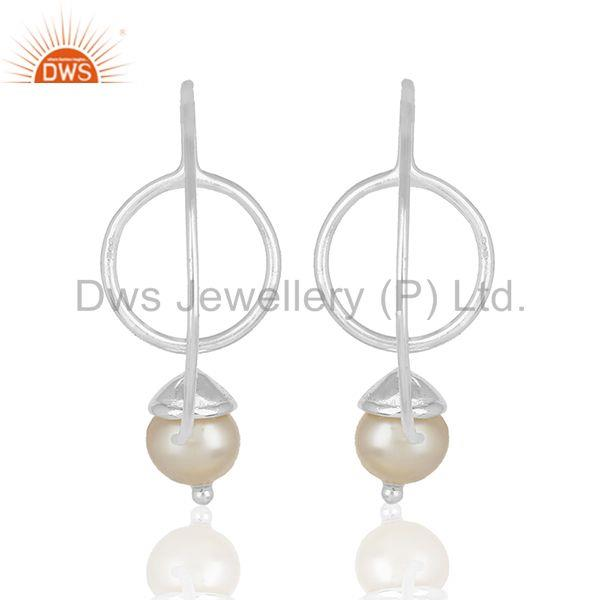 Suppliers Natural White Pearl Handmade 925 Sterling Plain Fine Silver Earring Manufacturer