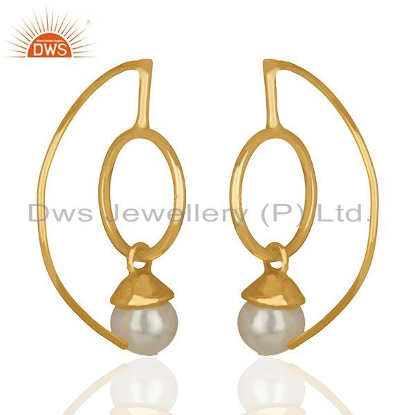 Suppliers Natural White Pearl Gold Plated 925 Silver Drop Earrings jewelry
