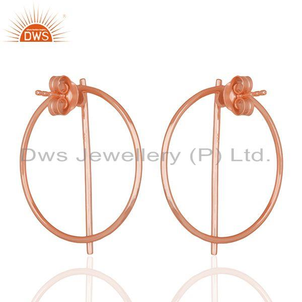 Suppliers 18k Rose Gold Plated Sterling Silver Simple Stud Earrings Manufacturer Jaipur