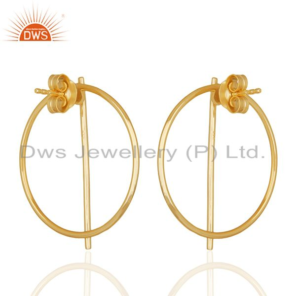 Suppliers 925 Sterling Plain Silver Gold Plated Girls Stud Earrings Jewelry