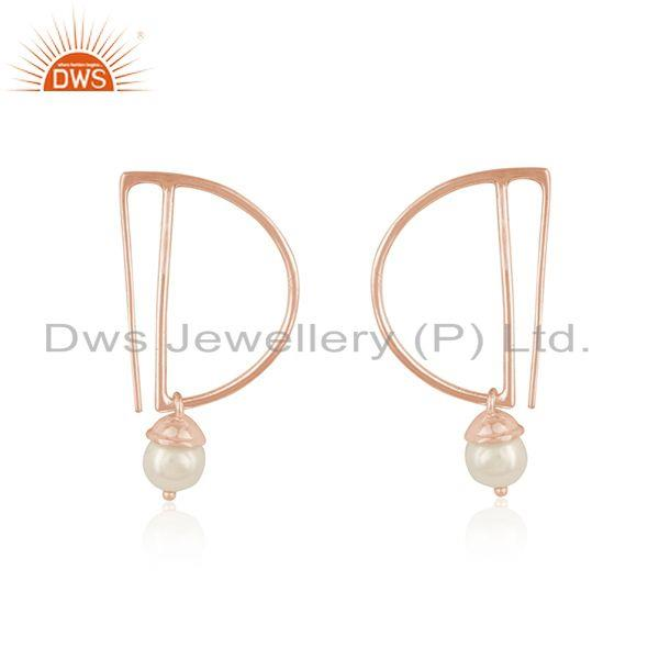 Suppliers Designer Rose Gold Plated Silver Natural Pearl Gemstone Earrings Jewelry