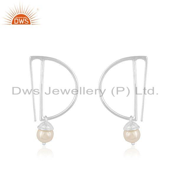 Suppliers Sterling Fine Silver Designer Natural Pearl Earrings Jewelry Supplier