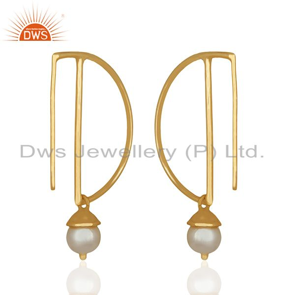 Suppliers D Design 925 Silver Gold Plated Pearl Gemstone Earrings Wholesale