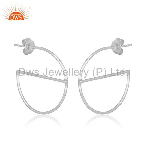 Suppliers Simple Handmade 925 Sterling Plain Fine Silver Girls Earring Manufacturer India