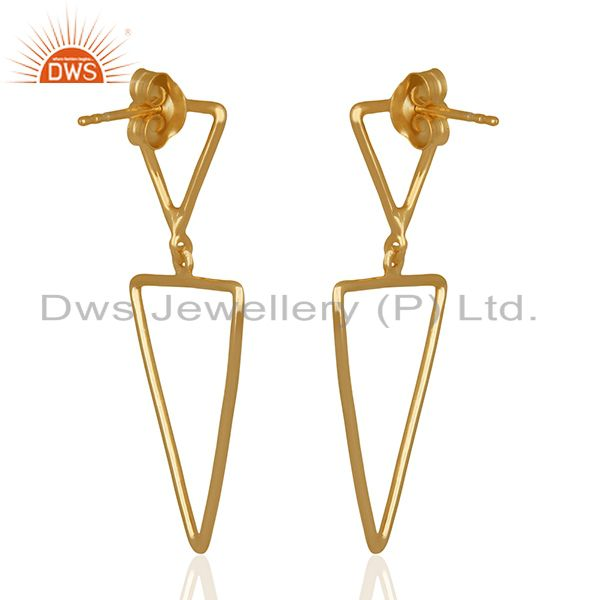 Suppliers Multi Tirangle Design 925 Silver Gold Plated Dangle Earrings Jewelry