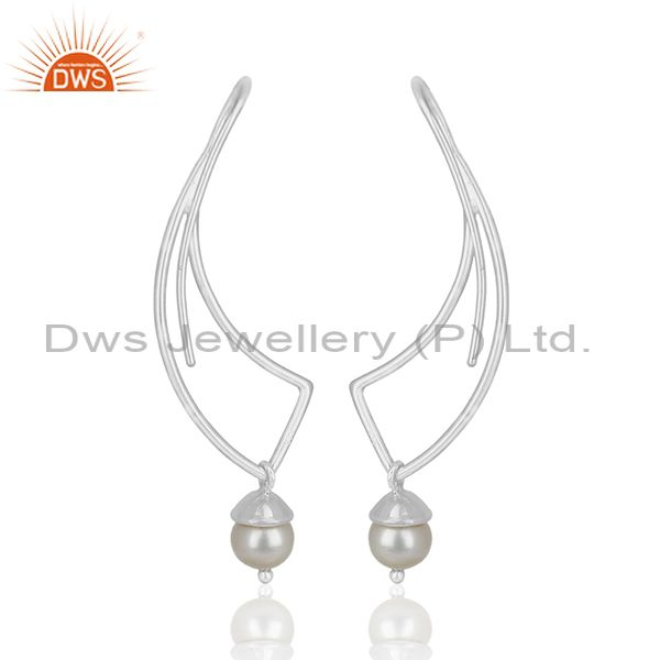 Suppliers New Designer 925 Sterling Plain Silver Pearl Earring Manufacturers