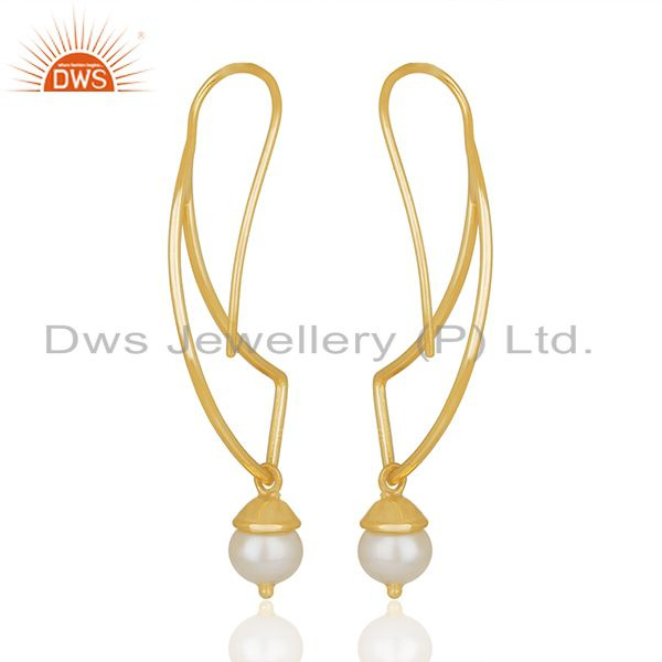 Suppliers 2017 New Designer 925 Silver Gold Plated Pearl Earrings Wholesale