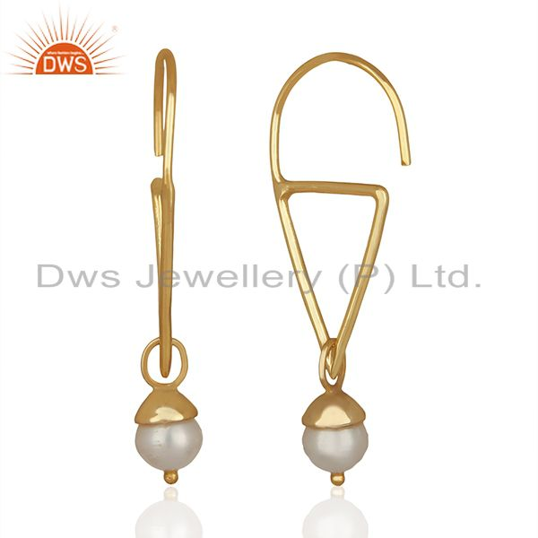 Suppliers Fresh Watar Pearl 925 Silver Gold Plated Party Earrings Manufacturers