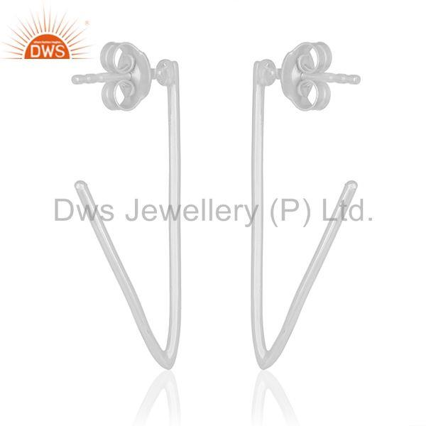 Suppliers Simple Design 925 Sterling Plain Silver Womens Earrings Manufacturers