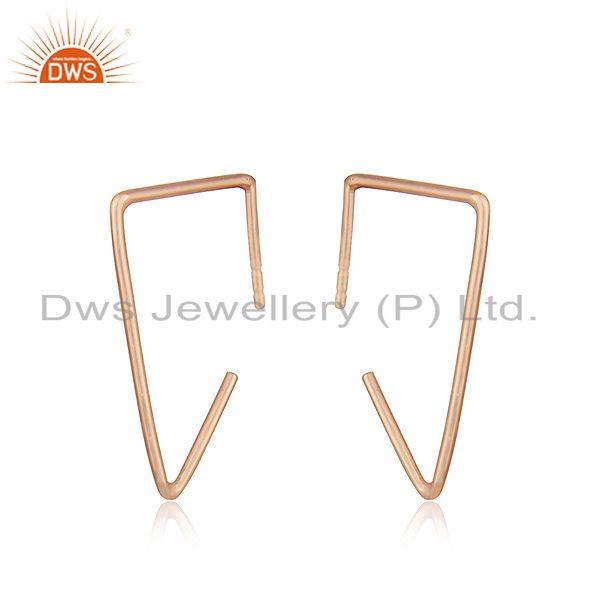 Suppliers 14k Rose Gold Plated 925 Sterling Silver Simple Wire Earrings Manufacturer India