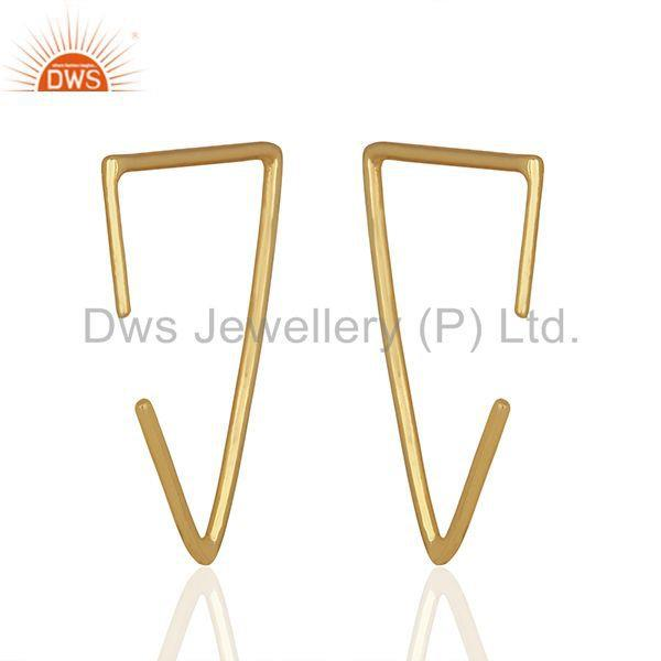Suppliers Simple Wire Design 925 Silver Gold Plated Earrings Manufacturers