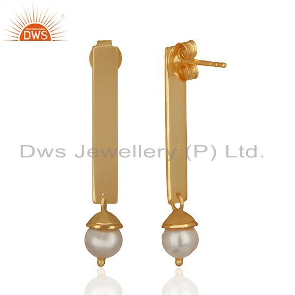 Suppliers Simple Bar Design 925 Silver Gold Plated Pearl Earrings Manufacturers