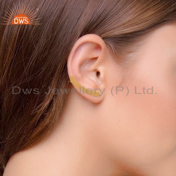Suppliers Hadndmade Solid 925 Silver Gold Plated Simple Girls Earring Jewelry
