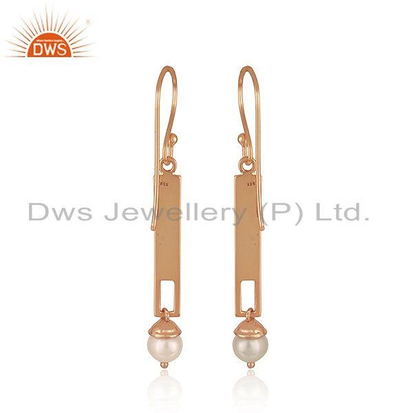 Suppliers 925 Silver Rose Gold Plated Bar Shape Natural Pearl Earrings Jewelry