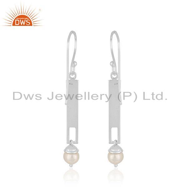 Suppliers Indian Sterling Fine Silver Bar Natural Pearl Earrings Jewelry