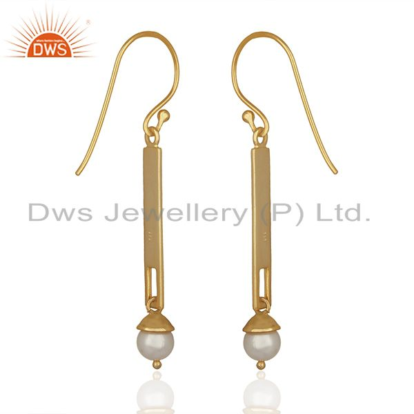 Suppliers Natural Pearl Round Gemstone Sterling Silver Earrings Manufacturer