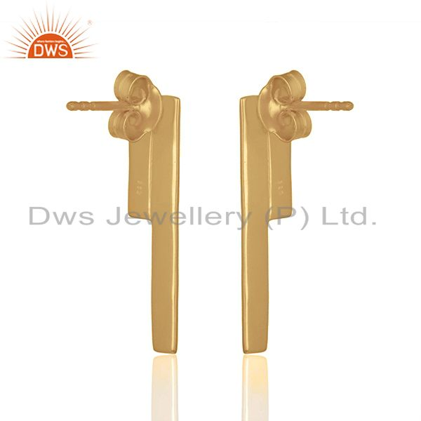 Suppliers Solid Plain 925 Silver Gold Plated Designer Earrings Girls Jewelry