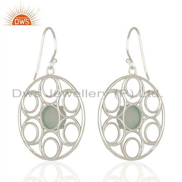 Aqua Chalcedony Gemstone 925 Silver Earring Manufacturer
