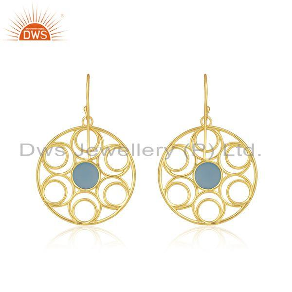 Top Quality Beautiful Wire Design Gold Plated 925 Silver Blue Chalcedony Earrings