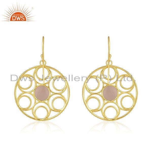 Best Quality Rose Chalcedony Gemstone 18k Gold Plated Sterling Silver Earrings