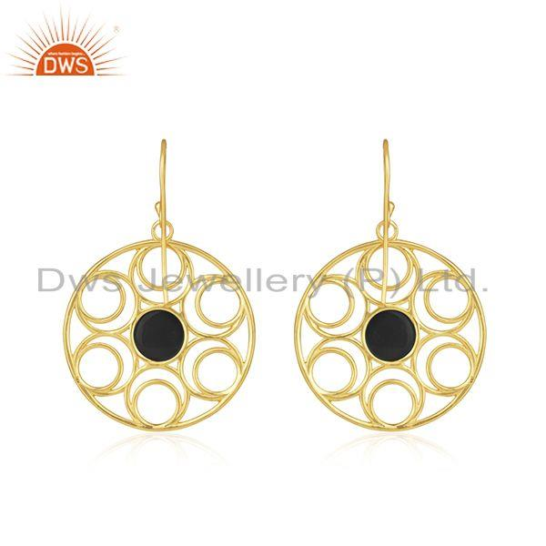 Top Quality Prong Setting Black Onyx Gemstone Gold Plated Sterling Silver Earrings