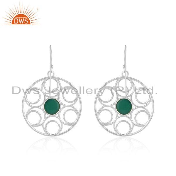 Top Quality Fine Sterling Silver Green Onyx Gemstone Party Wear Beautiful Earrings
