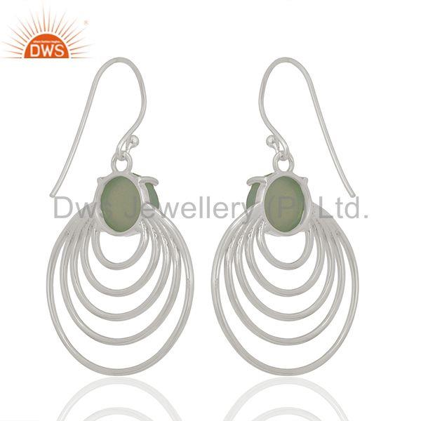 Aqua Chalcedony Gemstone 92.5 Silver Dangle Earrings Jewellery Supplier